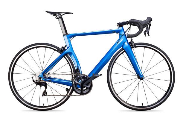Blauschwarzer Carbon-Rennsport Rennrad Rennrad-Rennfahrer isoliert – Foto