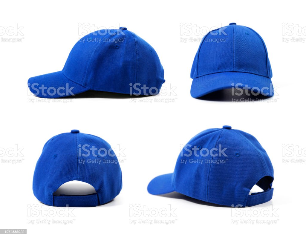 blue blank cap isolated on white background stock photo