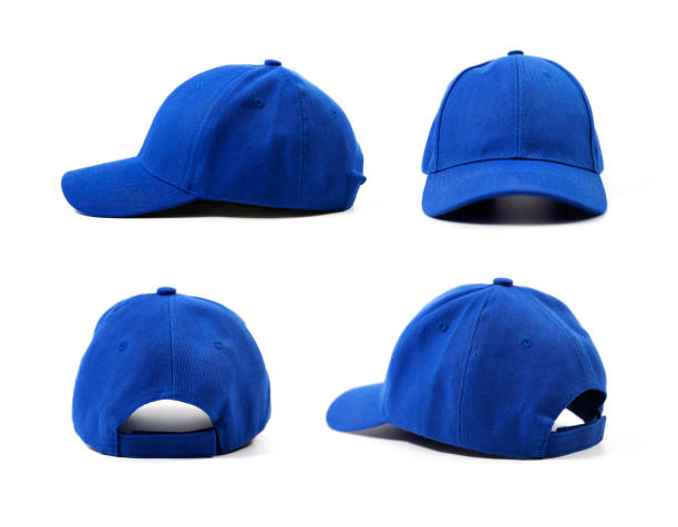 blue blank cap isolated on white background - czapka zdjęcia i obrazy z banku zdjęć