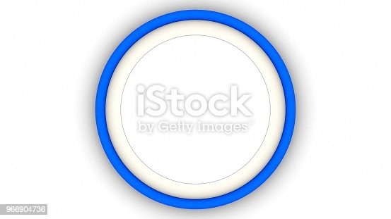 1144461291 istock photo Blue blank circle frame and shadow on white background. 3d rendering 966904736