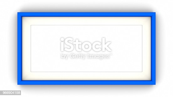 1144461291 istock photo Blue blank frame and shadow on white background. 3d rendering 966904158