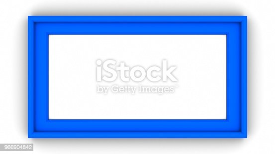 1144461291 istock photo Blue blank frame on white background. 3d rendering 966904842
