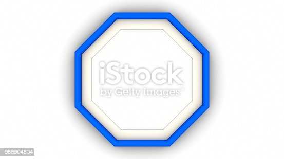 1144461291 istock photo Blue blank octagon frame and shadow on white background. 3d rendering 966904804