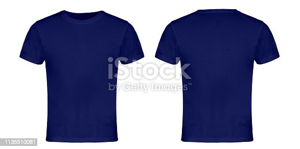 Blue Blank T-shirt Front and Back Sides Isolated on  White