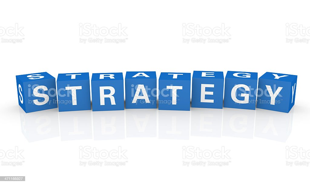 Blue blocks spell out the word strategy on white royalty-free stock photo