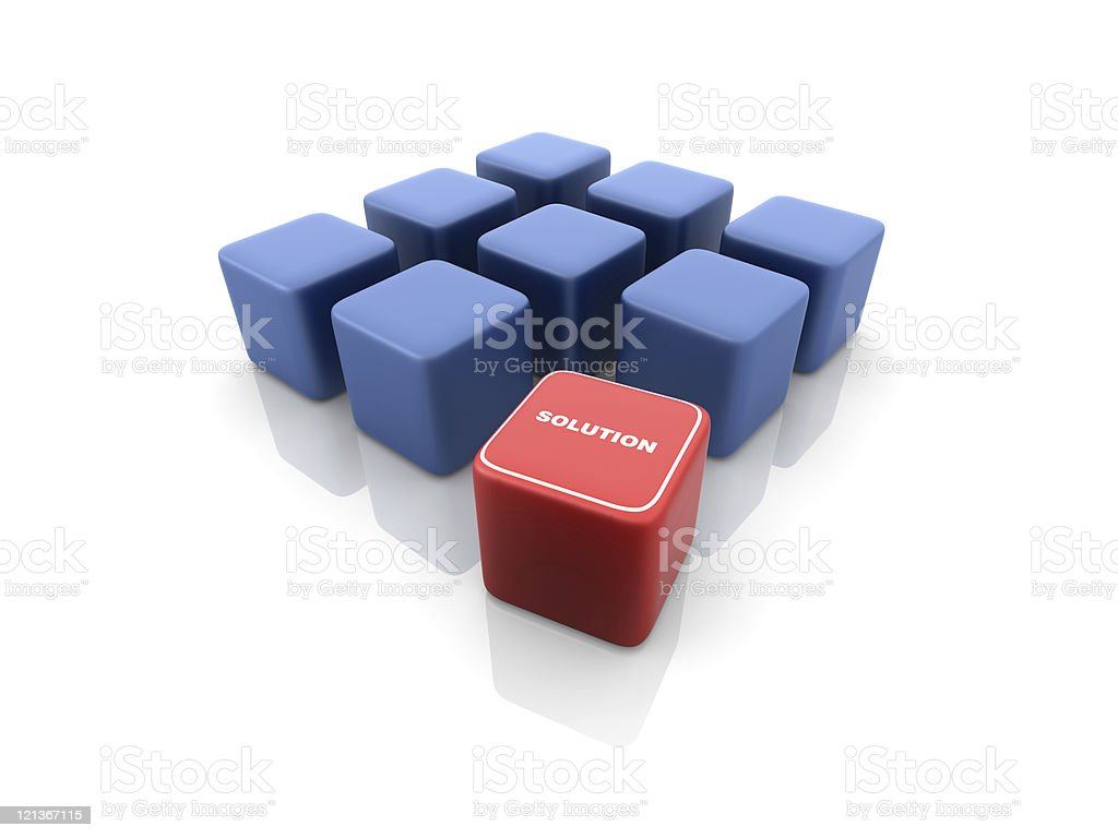 Blue Blocks with Solution Word royalty-free stock photo