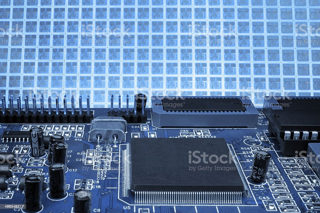 Blue board and wafer background stock photo