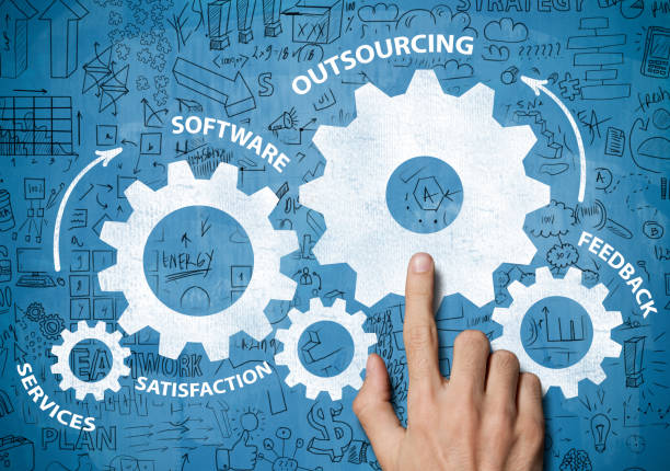OUTSOURCING / Blue board concept (Click for more) OUTSOURCING / Blue board concept (Click for more) outsourcing stock pictures, royalty-free photos & images