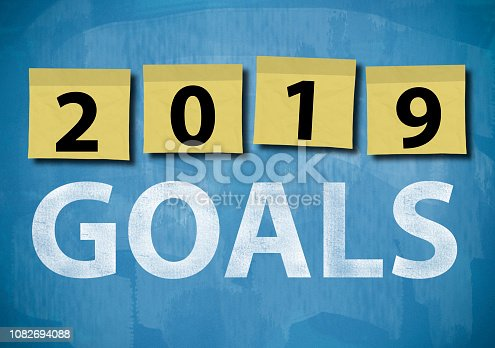 istock 2019 GOALS / Blue board notes concept (Click for more) 1082694088