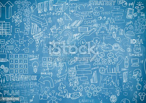 istock Blue board with charts (Click for more) 915550250