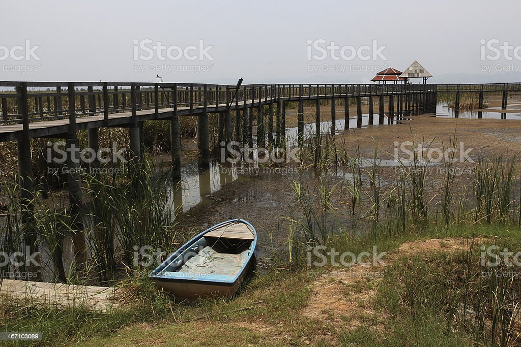 blue boat and wooden pathway on the marsh royalty-free stock photo