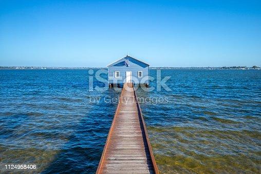 Crawley Edge Boatshed, blue boat house in perth