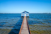 Crawley Edge Boatshed, blue boat house in perth
