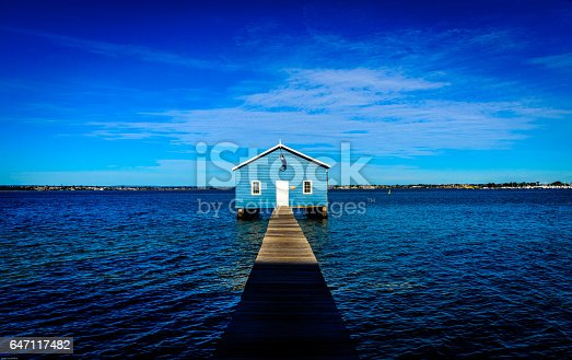 Blue Boat Shed at Matilday Bay in Perth Western Australia