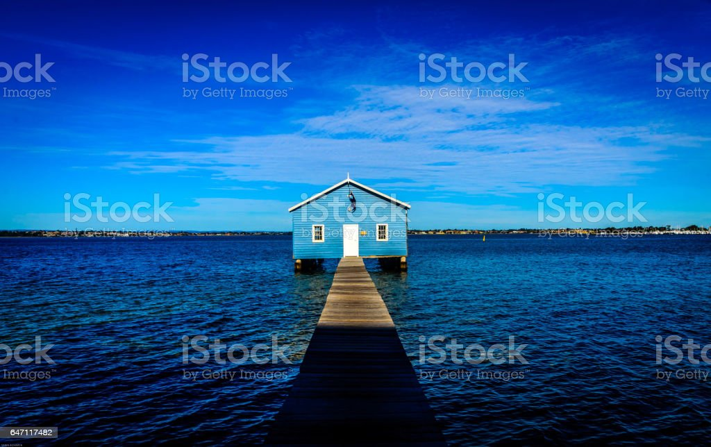Blue Boat House stock photo