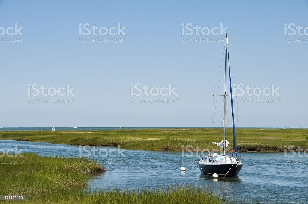 Blue Boat in the Bay royalty-free stock photo