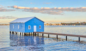 Perth, Australia – July 19, 2016: The iconic blue Crawley Edge Boatshed is a well-recognized and frequently photographed site in Perth. It is thought to have been constructed in the early 1930s and has since been refurbished.