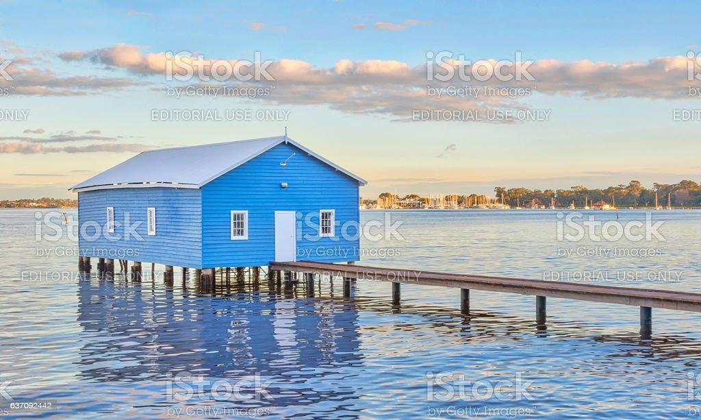 Blue Boathouse stock photo