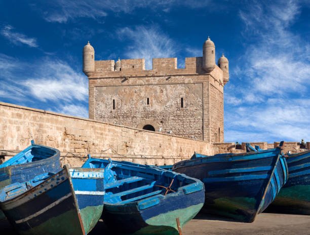 Blue boats in harbour of Essaouira in Morocco, Africa stock photo