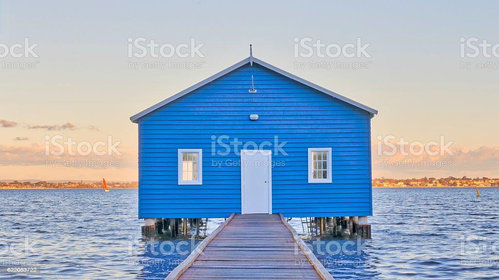 Blue Boatshed stock photo