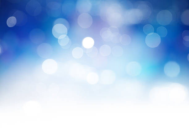 Blue Bokeh Lights Abstract Background stock photo