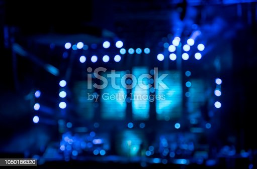 Blue bokeh concert lights -  abstract Christmas background