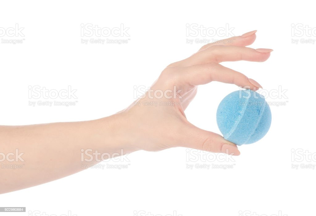 Blue bomb for bath in hand stock photo