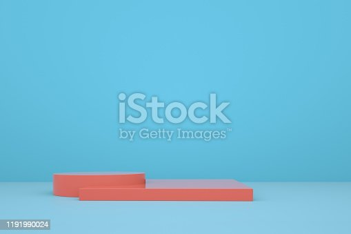 1049530612 istock photo blue booth 3D rendering background wall, can be used for banner design items display background. 1191990024