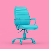 istock Blue Boss Office Chair Duotone. 3d Rendering 1182689865