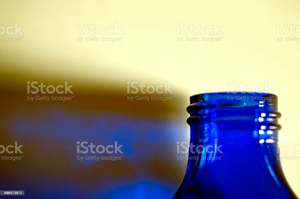 Blue Bottle and Reflection stock photo