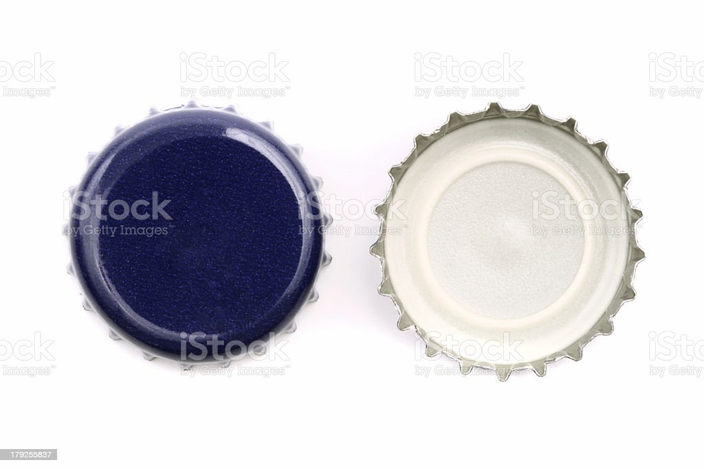Blue bottle caps stock photo