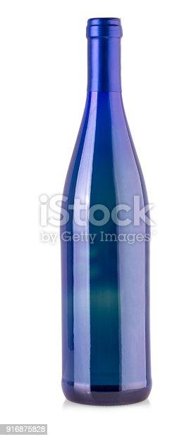 istock Blue bottle isolated on white background. 916875828