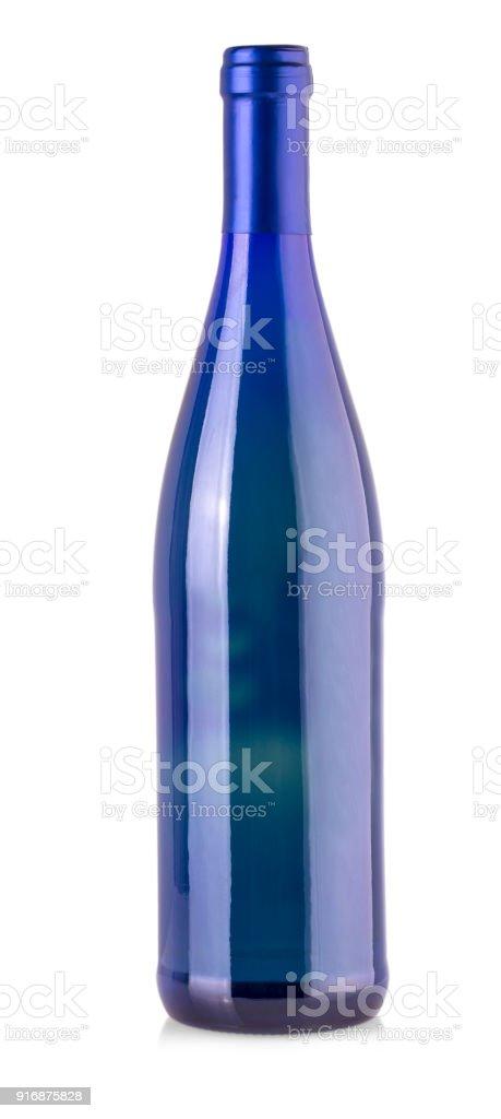 Blue bottle isolated on white background. stock photo