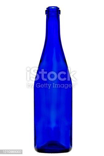 istock Blue bottle of wine. Vertically standing wine bottle. 1210985002