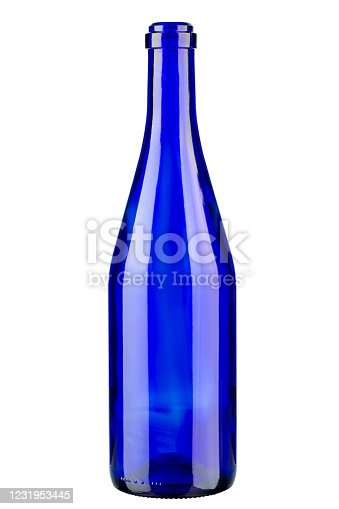 istock Blue bottle of wine. Vertically standing wine bottle. 1231953445