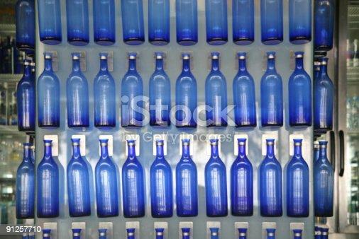 istock Blue Bottles On Bar Shelf 91257710