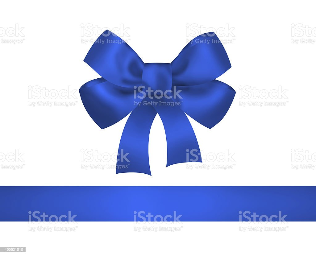 Blue bow and ribbon against white background stock photo
