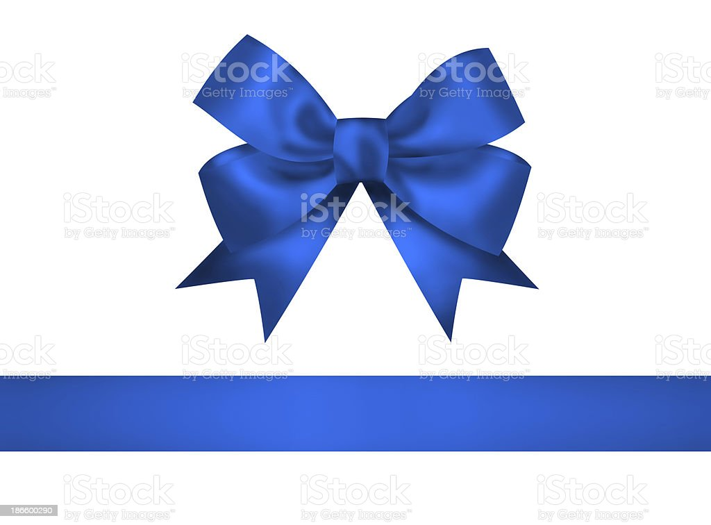 Blue bow and ribbon isolated on white background stock photo