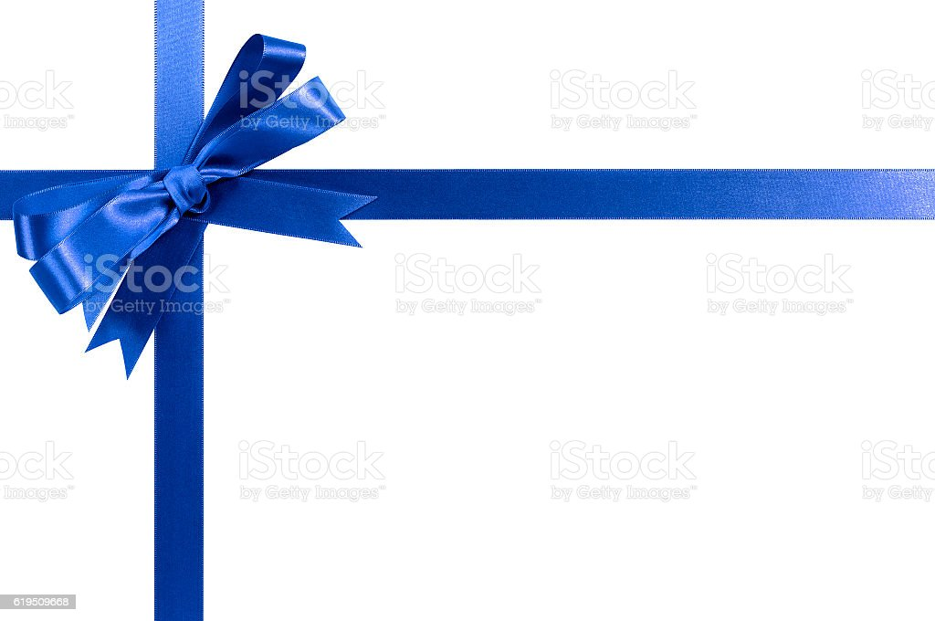 Blue bow gift ribbon stock photo