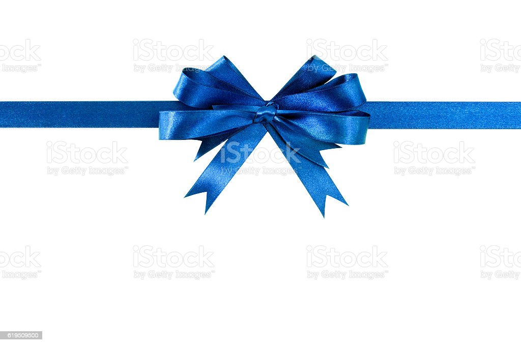 Blue bow gift ribbon straight horizontal stock photo