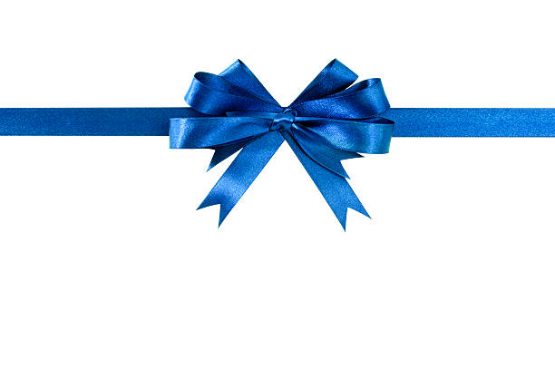 blue bow gift ribbon straight horizontal - award ribbon stock photos and pictures