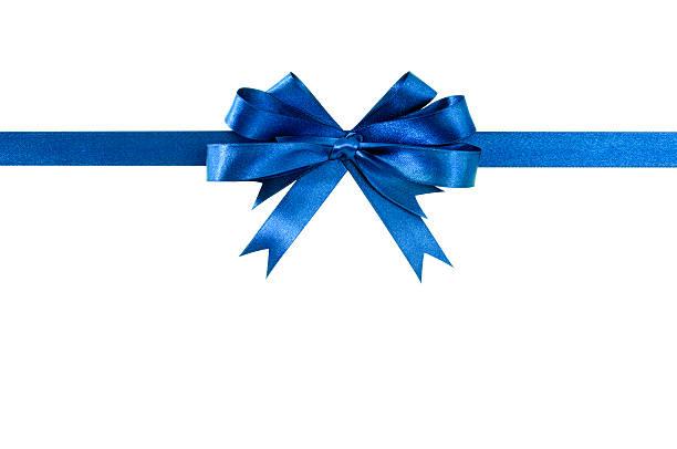 blue bow gift ribbon straight horizontal - geschenkschleife stock-fotos und bilder