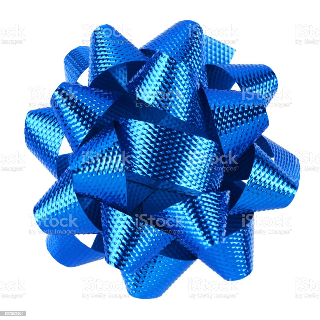Blue bow isolated stock photo