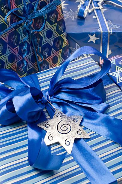Blue bow on a Hanukkah Gift stock photo
