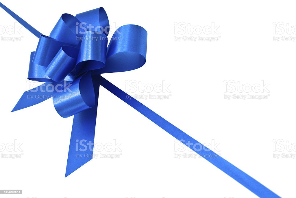 blue bow on white background royalty-free stock photo