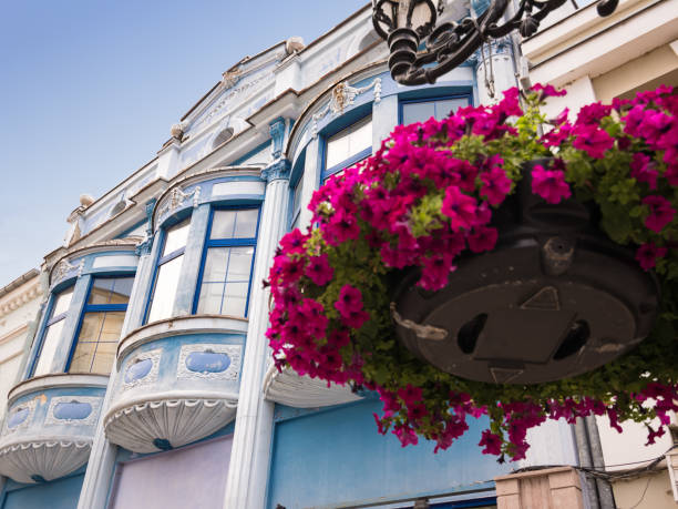 Blaue Bogenfenster in der Straße des Zentrums von Plovdiv (Bulgarien) und Blumen im Vordergrund – Foto