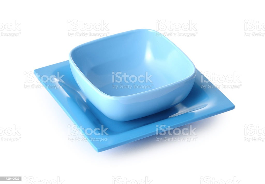 blue bowl and plate on white royalty-free stock photo