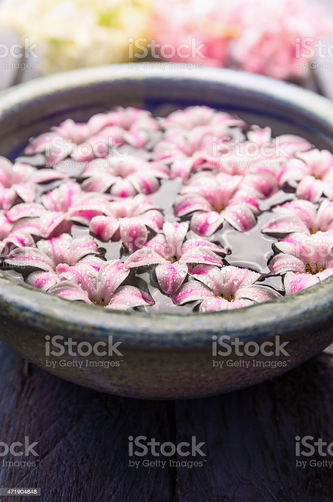 Blue bowl with water and flowers, close up wellness concept stock photo