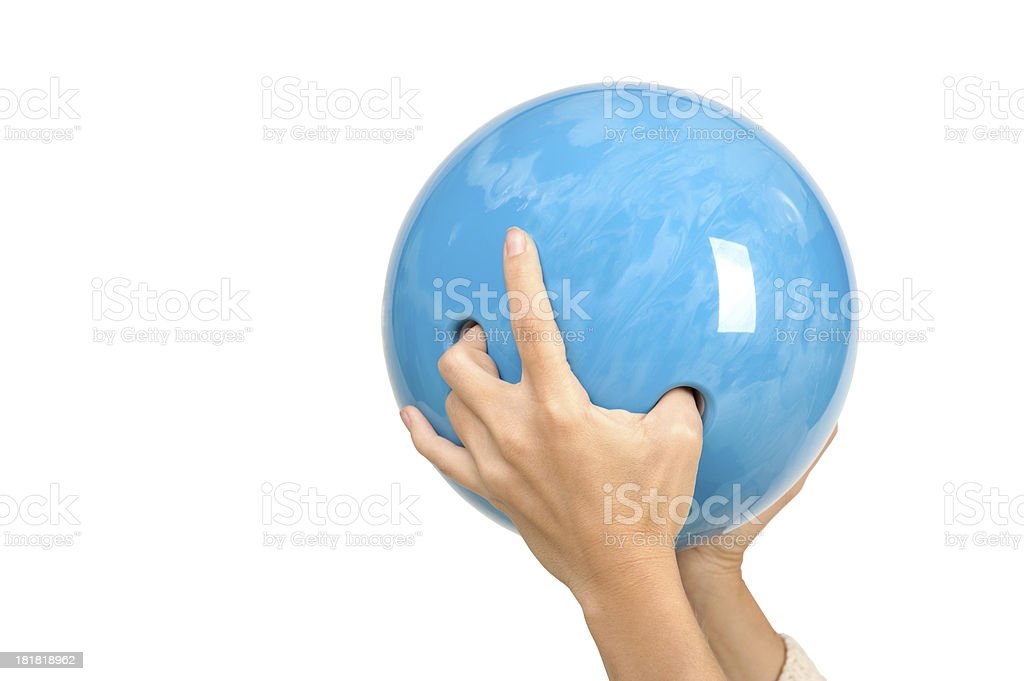 Blue Bowling Ball stock photo