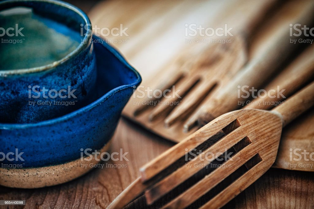 Blue Bowls on Wood Cutting Board stock photo